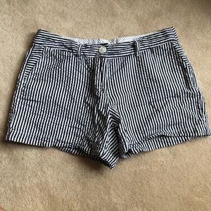 Seersucker blue and white striped shorts